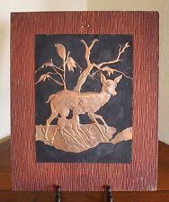 Rustic Vtg Tooled Copper Picture on Wood Arts Crafts Western Ranch Deer Picture