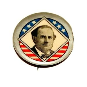 1900 WILLIAM JENNINGS BRYAN campaign pin pinback button political presidential