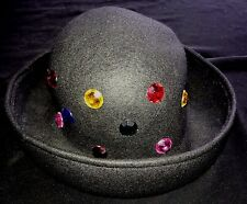 womens one size fits most BLACK HAT LARGE COLORFUL GEMS super condition WINTER @