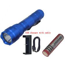 Blue UltraFire WF-502B CREE XM-L2 U3 LED 1 Mode Flashlight + Battery + Charger