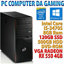 PC COMPUTER GIOCO GAMING QUAD CORE i5 RAM 8GB SSD 120GB HDD 500GB RX 550 4GB