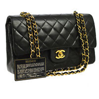 Auth CHANEL Quilted CC Double Flap Chain Shoulder Bag Black Leather VTG N20238