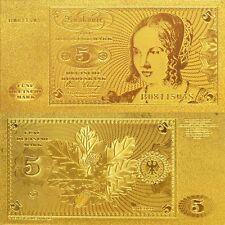 GERMANY 5 DM DEUTSCHE MARK 1970 1980 P-30 BANKNOTE GOLD REPLICA
