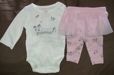 Daddys Little Princess-Carters Pink & White Bodysuit/Leggings-Size 18 Month-Nwt