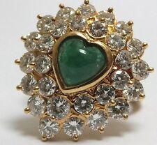 Vintage 2.50ct Diamond 18ct Gold Cabochon Cut Emerald Love Heart Ring