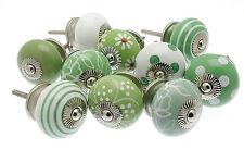 10 x Shabby Chic Mixed 'Greens' Ceramic Cupboard Knob Drawer Kitchen Knob MG-206