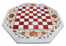 "12""x12"" Marble Coffee Chess Table Top Hakik Marquetry Floral Inlay Outdoor Decor"