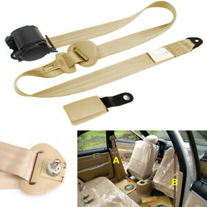 3 Point Retractable Adjustable Car Safety Seat Belts Lap Belt Beige Nylon Straps