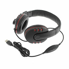 Leather USB Wired Stereo Micphone Headphone Mic Headset for Sony PS3 PS4 PC Game