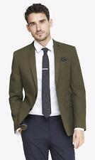 New EXPRESS $198 Olive Green Twill Slim Fit Photographer Suit Jacket Blazer 36 S
