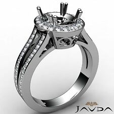 Oval Semi Mount Platinum Diamond Engagement 0.94Ct Ring Halo Pave Split Shank
