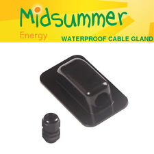 BLACK Waterproof Roof Single Cable Entry Gland motorhome caravan solar satellite