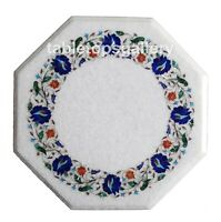1.5' White Marble Coffee Table Top Mosaic Lapis Floral Inlay Kitchen Decors W152