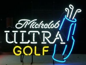 "New Michelob Ultra Golf Bag Beer Bar Neon Sign 20""x16"" Real Glass Decor"