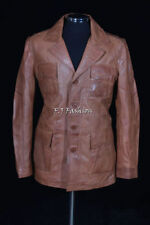 Zip Leather Collared Blazers for Men