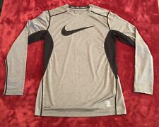 "NIKE PRO COMBAT ""DRI-FIT"" GRAY BLACK LONG SLEEVE ""FITTED"" SHIRT BOYS SIZE LARGE"