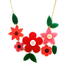 Tatty Devine Craft Flower Large Necklace Red