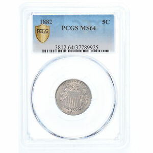 [#908017] Coin, United States, Shield Nickel, 5 Cents, 1882, U.S. Mint
