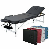 """3-Section Black Aluminum 84""""L Portable Massage Table Facial SPA Bed Tattoo"""