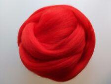 Poppy Red* 100% Merino Wool Roving Tops for Felting, 50g