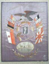 Vintage 1935 Poland Naval Ship Silk Embroidery S.S. Olovsborg 12 Flags Pre- WWII