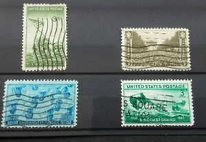 USA 1945 - US Marines, Army, Navy & Coastguard set of 4 used stamps SG930-933