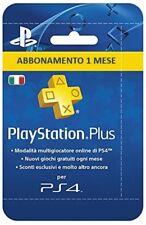 Abbonamento PLAYSTATION PLUS 1 Mese - 30 GIORNI PSN PS4 **Leggi Descrizione **