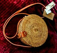 Anthropologie Collection18 Handwoven Round Rattan Wicker Purse Crossbody Bag NWT