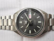 SEE THROUGH BACK SEIKO 5 SS CASE DULL BLACK DIAL MENS AUTOMATIC WRISTWATCH