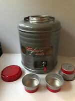 Vintage Retro THERMASTER BOTTLE Featherweight Metal Cooler with 2 Aluminum Cups