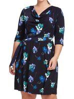 Leota Plus Size Lena Jersey Shift Dress In Falling Floral 1X (1L)
