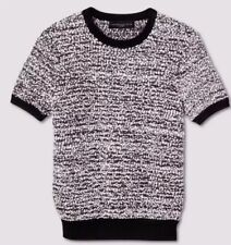 Victoria Beckham Target Black White Short Sleeve Sweater Knit Top Plus Size 3X