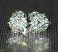 4Ct Round Cut Diamond Six Prong Solitaire Stud Earrings 14K White Gold Finish