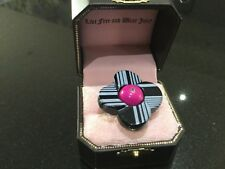 NIB Juicy Couture New & Genuine Silver Plated & Coloured Adjustable Flower Ring