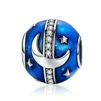 Real 925 Sterling Silver Moon Stars Blue Charm Enamel Pendant Fit Bracelet Chain