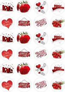 24X PRECUT VALENTINES DAY, EDIBLE WAFER PAPER, CUPCAKE, CAKE TOPPERS 1490