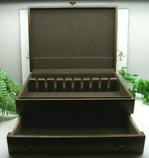 Vtg Towle Sterling Silverplate Flatware Wooden Wood Storage Chest Case Box 16+