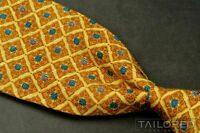 "ERMENEGILDO ZEGNA Yellow Floral Geometric 100% Silk Luxury Tie - 3.50"""