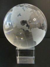 "4.25"" Crystal World Map Globe w/ Stand, Large Clear Ball Frosted Design"