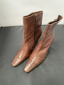 Ladies,Louts, Dark Brown,Leather Mid Calf Boots Size-UK 8