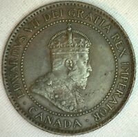 1907 Copper Canadian Large Cent Coin 1-Cent Canada XF K3