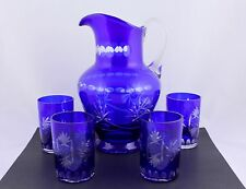 VINTAGE BOHEMIAN COBALT BLUE CUT TO CLEAR CRYSTAL PITCHER & 4 TUMLERS - RARE