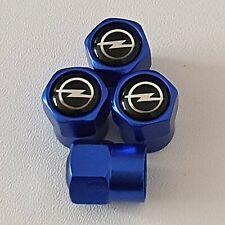 VAUZHALL OPEL Blue Metal Valve Dust Caps for all models ASTRA CORSA INSIGNIA SRI