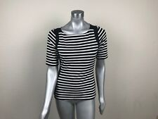 White House Black Market Woman Top Blouse Casual Short Sleeve Striped Sz M