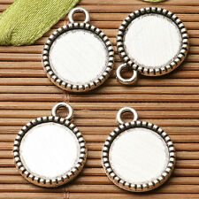 16pcs dark silver color 2sided round shaped cabochon setting in 12mm EF3305