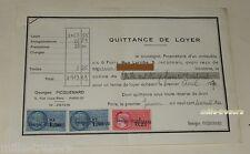 QUITTANCE de LOYER du 1er janvier 1970 TIMBRE Fiscal de 0.25 0.50 1.50 (2)