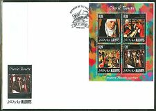 MALDIVES 2014 ART GREATEST FLEMISH ARTISTS DIERIC BOUTS SHEET OF FOUR FDC