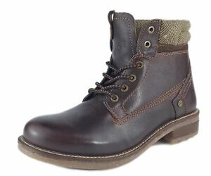 Wrangler Hill Tweed Mens Leather Lace Boots Dark Brown