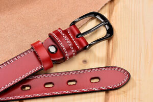Womens Ladies Genuine Leather Belts Double Stitched Fashion Jeans Belt UK Stock