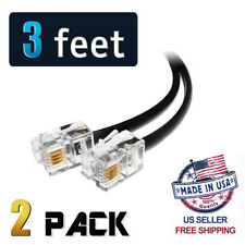 (2 Pack) 3 Feet Black Telephone Cable Rj11 6p4c 36 inch Phone Line Cord 3ft